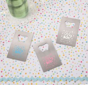 Personalized Baby Shower Credit Card Bottle Openers - Silver (Printed Metal) (White, Gender Reveal)