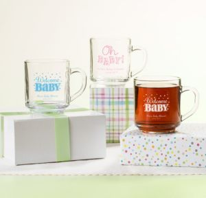 Personalized Baby Shower Glass Coffee Mugs (Printed Glass) (White, Baby Brights)