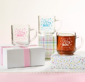 Personalized Baby Shower Glass Coffee Mugs (Printed Glass) (White, Gender Reveal)