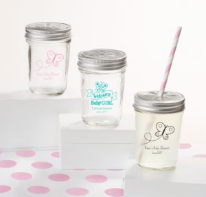 Personalized Baby Shower Mason Jars with Daisy Lids, Set of 12 (Printed Glass) (White, Welcome Girl)