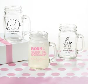 Personalized Baby Shower Mason Jar Mugs (Printed Glass) (White, Pink Safari)