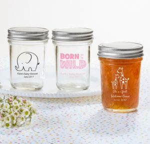 Personalized Baby Shower Mason Jars with Solid Lids (Printed Glass) (White, Pink Safari)