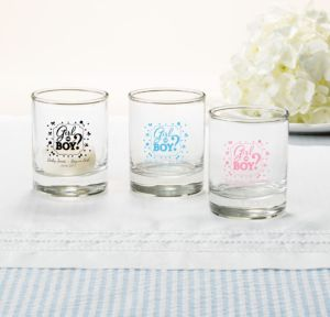 Personalized Baby Shower Shot Glasses (Printed Glass) (White, Gender Reveal)