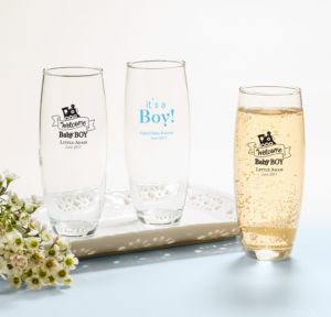 Personalized Baby Shower Stemless Champagne Flutes (Printed Glass) (White, Welcome Girl)