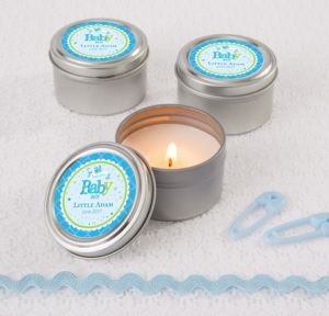 Personalized Baby Shower Wedding Candle Tins (Printed Label) (Welcome Boy)