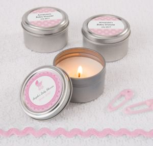 Personalized Baby Shower Wedding Candle Tins (Printed Label) (Celebrate Girl)