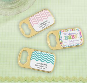 Personalized Baby Shower Bottle Openers - Gold (Printed Epoxy Label) (Gold, Baby Brights)