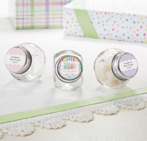 Personalized Baby Shower Small Glass Jars (Printed Label) (Baby Brights)