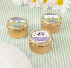 Personalized Baby Shower Round Candy Tins - Gold (Printed Label) (Gold, Woodland)