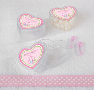 Personalized Baby Shower Heart-Shaped Plastic Favor Boxes, Set of 12 (Printed Label) (Welcome Girl)