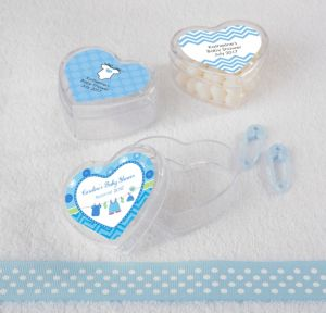 Personalized Baby Shower Heart-Shaped Plastic Favor Boxes, Set of 12 (Printed Label) (Shower Love Boy)