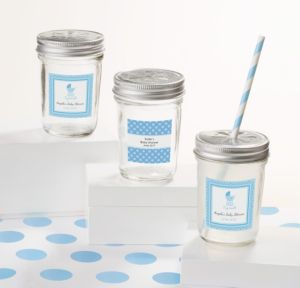 Personalized Baby Shower Mason Jars with Daisy Lids (Printed Label) (Celebrate Boy)
