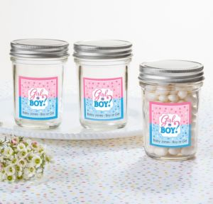 Personalized Baby Shower Mason Jars with Solid Lids (Printed Label) (Gender Reveal)