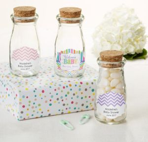 Personalized Baby Shower Glass Milk Bottles with Corks (Printed Label) (Baby Brights)