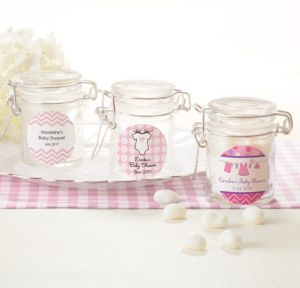 Personalized Baby Shower Glass Candy Jars (Printed Label) (Shower Love Girl)
