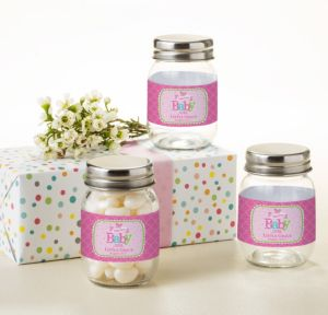 Personalized Baby Shower Mini Glass Mason Jars (Printed Label) (Welcome Girl)