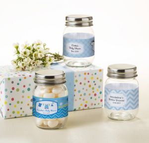 Personalized Baby Shower Mini Glass Mason Jars (Printed Label) (Shower Love Boy)