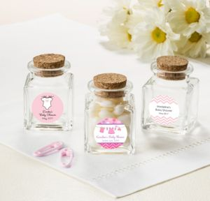 Personalized Baby Shower Small Glass Bottles with Corks (Printed Label) (Shower Love Girl)