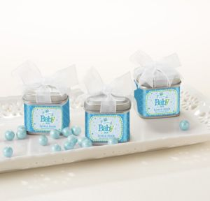 Personalized Baby Shower Wedding Favor Tins with Bows, Set of 12 (Printed Label) (Welcome Boy)