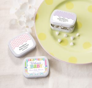 Personalized Baby Shower Mint Tins with Candy (Printed Label) (White, Baby Brights)