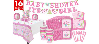 Girl Welcome Baby Party Kit Pink Little One 16 Guests