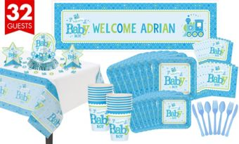 Boy Welcome Baby Tableware Kit Welcome Little One 32 guests