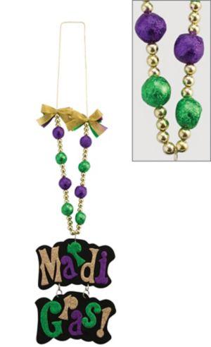 Glitter Mardi Gras Sign Pendant Bead Necklace