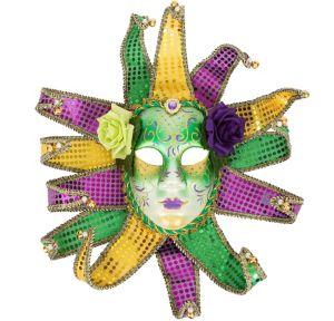Glitter Jester Mardi Gras Face Mask