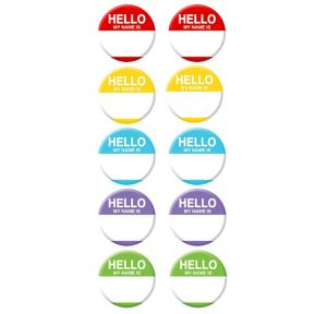 Hello Name Tag Buttons 10ct