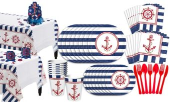 Striped Nautical Basic Party Kit for 16 Guests