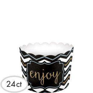 Black, Gold & Silver Chevron Scalloped Bowls 24ct