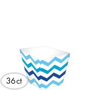Mini Blue Chevron Cubed Bowls 36ct
