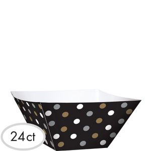 Black, Gold & Silver Polka Dot Square Bowls 24ct