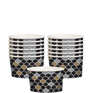 Black, Gold & Silver Moroccan Treat Cups 12ct