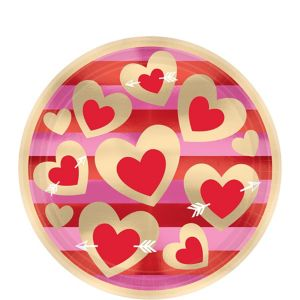 Heart of Gold Valentine's Day Dessert Plates 8ct