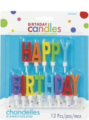 Rainbow Happy Birthday Toothpick Candle Set 13pc