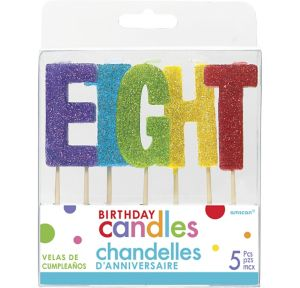 Glitter Multicolor Eight Birthday Toothpick Candle Set 5pc