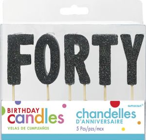 Glitter Black Forty Birthday Toothpick Candle Set 5pc