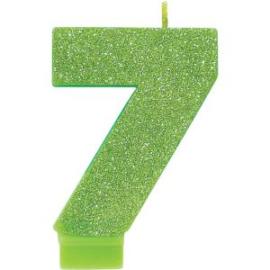 Glitter Kiwi Green Number 7 Birthday Candle