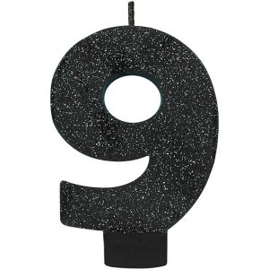 Glitter Black Number 9 Birthday Candle