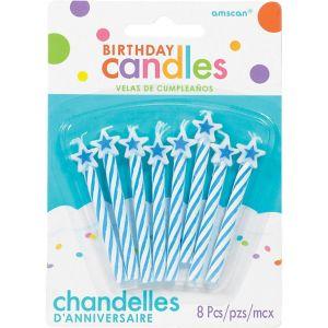 Blue Star Spiral Birthday Candles 8ct