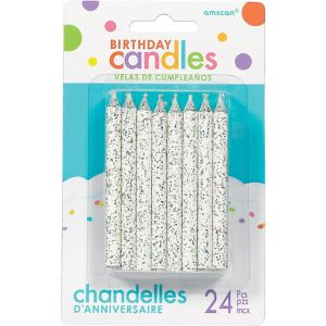 Glitter White Spiral Birthday Candles 24ct