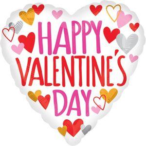 White Happy Valentine's Day Heart Balloon