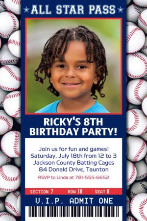 Custom Baseball Ticket Photo Invitation