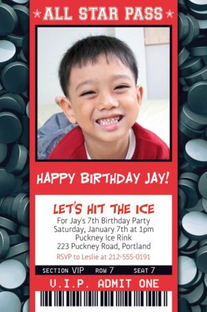 Custom Hockey Ticket Photo Invitation