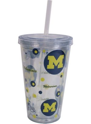 Michigan Wolverines Double Wall Tumbler with Straw