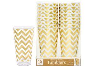 Gold Chevron Premium Plastic Cups 16ct