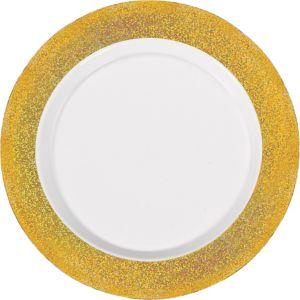 White Prismatic Gold Border Premium Plastic Dinner Plates 10ct