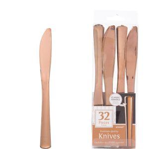 Rose Gold Premium Plastic Knives 32ct