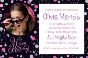 Custom Pink Sparkling Celebration Birthday Photo Invitation